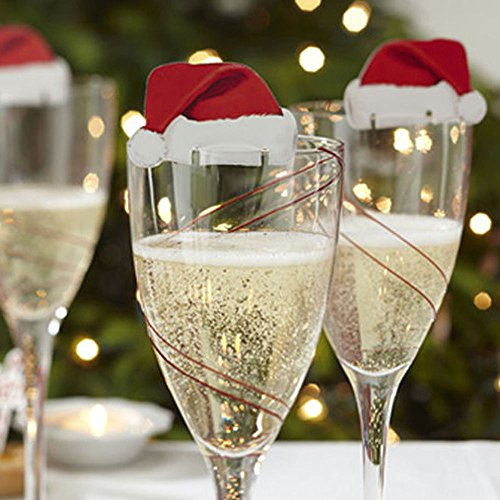 NPLE--10pcs Xmas Hats Champagne Wine Glass Caps Christmas