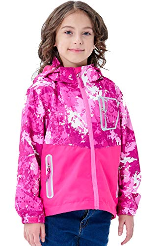YILLEU Boys Girls Rain Jackets Hooded Fleece Lined Waterproof Lightweight Coats Windbreakers Raincoats for Kids Red Camo XL