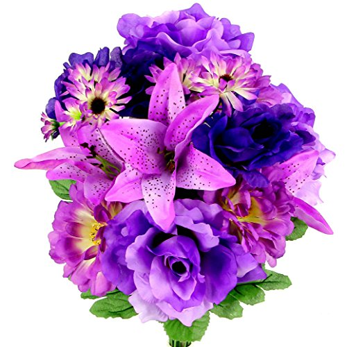 Admired By Nature 14 Stems Artificial Full Blooming Rose, Lily, Gerbera Daisy Greenery Mixed Bush for Home Office, Wedding, Restaurant Decoration Arrangement, Lavender, 2 Pieces -