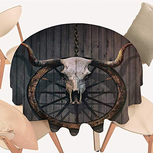 Barn Wood Wagon Wheel Table Cover Long Horned Bull for sale  Delivered anywhere in Canada