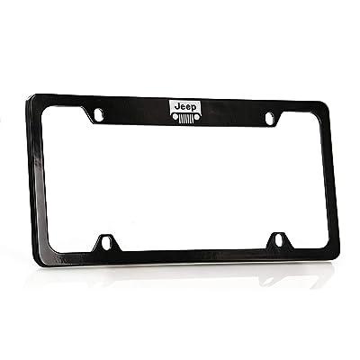 Jeep Logo License Plate Frame Holder (4 Hole/Brass, Black/Top): Automotive