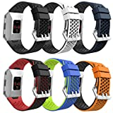 MoKo Fitbit Ionic Watch Band, [6 PACK] Colorful Soft Silicone Perforated Adjustable Strap for Fitbit Ionic Smart Watch, Large Size 5.12''-9.05'' (130mm-230mm), 6PCS (Multi-Colors)
