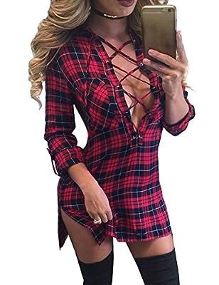 FANCYINN Women Long Sleeve Plaid Pattern Slim Bodycon Short Mini Dress Casual Style