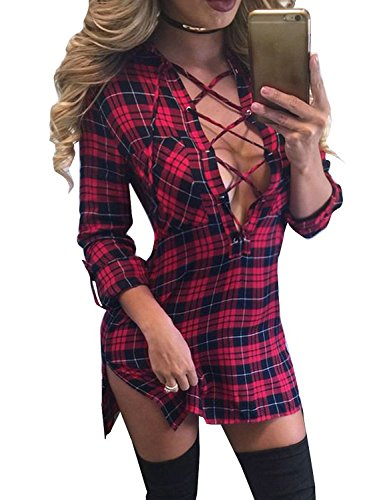 FANCYINN Women Long Sleeve Plaid Pattern Slim Bodycon Short Mini Dress Casual Style Red L - Plaid Dress Shorts