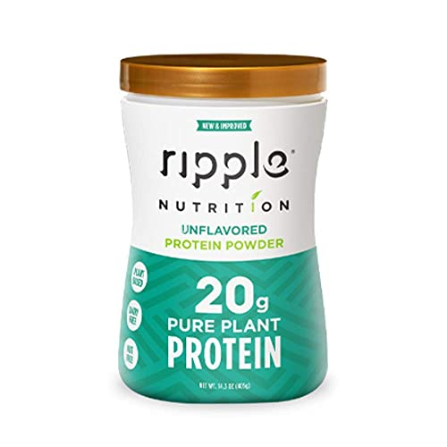 Ripple Vegan, Dairy-Free Protein Powder, Unflavored 20g Clean, Plant-Based Protein Perfect for Smoothies, Post Workout Recovery and Meal Replacement