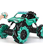 NQD Remote Control Car, Off Road Monster Truck, 4WD All Terrain Climb Truck, 1:16 360° Rotation Drift Stunt Rechargeable Electric Vehicle with Head Lights (Green)