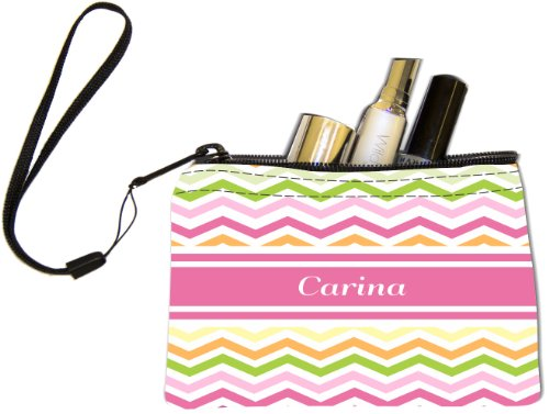 "Rikki Knight ""Carina"" Pink Chevron Name Keys Coins Cards Cosmetic Mini Clutch Wristlet"