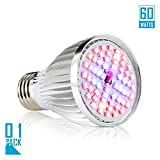 Led Grow light Bulb, 60W Full Spectrum Grow lights E26 Grow Plant Light for Hydroponics Greenhouse Organic, Lights For Fish Tank, Hydroponic Aquatic Indoor Plants,Pack of 1 For Sale