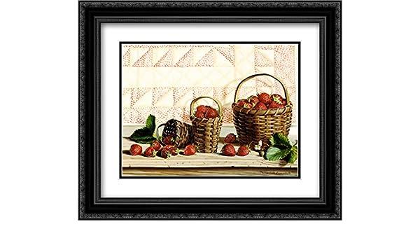Amazon.com: Strawberry Time 2x Matted 18x15 Black Ornate Framed Art ...