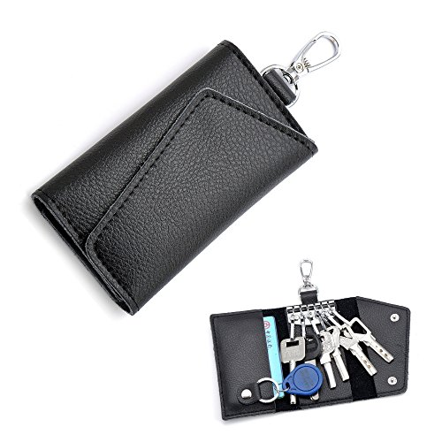 Key Bag Key Case Card Wallets 6 Key Hooks Unisex Leather Car KeyChain Key Fob