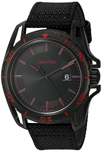- Calvin Klein Men's 'Earth' Swiss Quartz Stainless Steel and Leather Watch, Color:Black (Model: K5Y31ZB1)