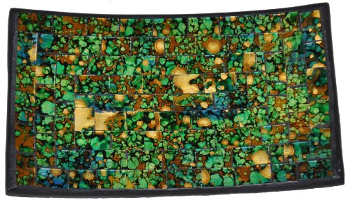 Granite Green Tray (Mosaic Glass Tray, More Browns and Golds Than Shown,