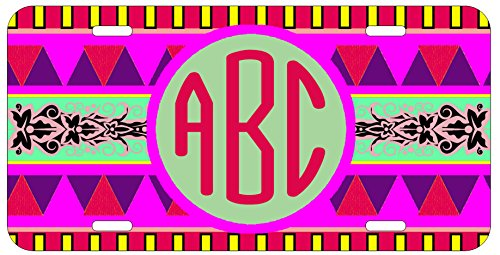 Personalized Monogrammed Aztec Tribal Car License Plate Auto Tag
