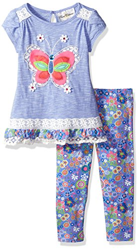 Periwinkle Baby Legging (Rare Editions Little Girls' Peri Heathered Top W Butterfly Applique Legging Set, Periwinkle, 6X)