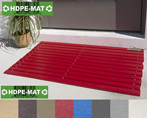 Heavy Duty Waterproof Front Door Mat | Eco Friendly | Stylish Handcrafted Red Recycled Plastic Poly Lumber Slats - Welcome Doormat For Outdoor Entrance Porch Garage Patio Entry | UV Resistant HDPE-MAT (Door Mat Front Red)
