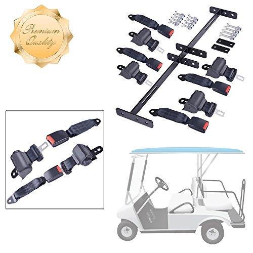 GC Global Direct Golf Cart Universal Retractable 4 Seat Belts Bracket Kit (Black 4 Seat Belts)