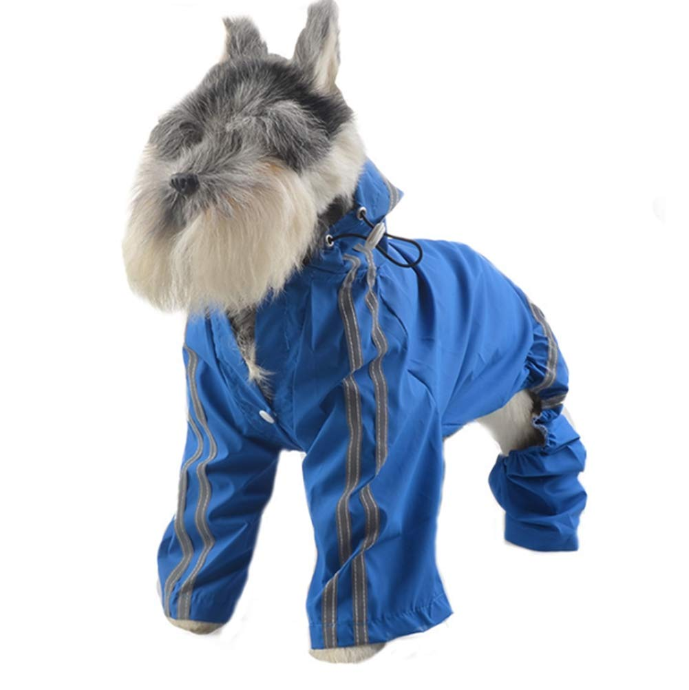 7XL Pet Dog Raincoat Hooded Coat Reflective Striped Jacket Waterproof Rain Poncho Suitable for Large Dogs (Length45-65cm)