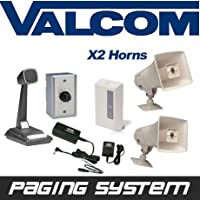 Valcom 2 Horn Speaker Paging PA System Kit (Industrial Grade)