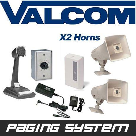Valcom 2 Horn Speaker Paging PA System Kit (Industrial Grade)