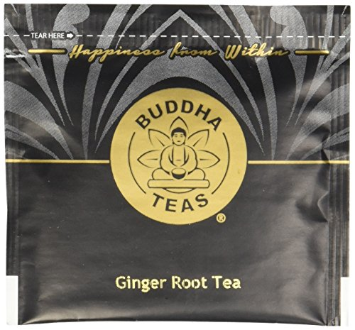 Organic Ginger Root Tea, 18 Bleach-Free Tea Bags - Caffeine Free Tea Calms Upset Stomach, Relieves Joint Pain and Inflammation, Strengthens Immune System, No GMOs