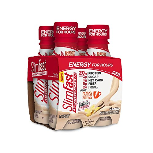 (SlimFast Advanced Energy, 20g of Protein Meal Replacement Shake, Vanilla, 4 Count)