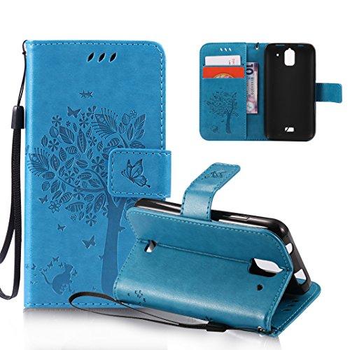 OuDu Funda Huawei Y3/Y360 Carcasa de Billetera Funda PU Cuero para Huawei Y3/Y360 Carcasa Suave Protectora con Correas de Teléfono Funda Arbol Flip Wallet Case Cover Bumper Carcasa Flexible Ligero Ult