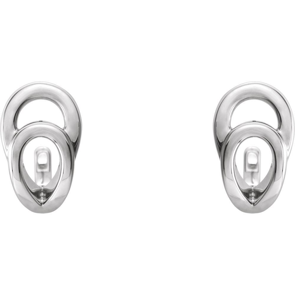 Sterling Silver Geometric J-Hoop Earrings