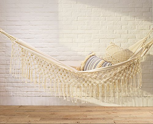 Hammock Fringed Macramé Hammock Chair outdoors White Bohemian Hammock Camping,Double Size (79'' L59 W) by Flber