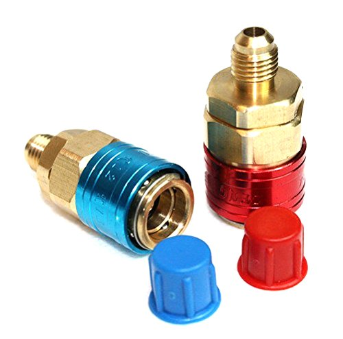 Atoplee Car Ac R134a Quick Coupler Adapter Automotive High Low Pressure Adapter, 1/4 inch SAE