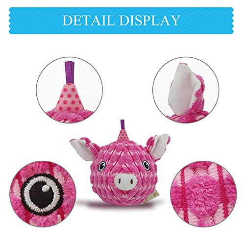 AXEN Round Face Series Dog Toys, Pig Shape, Cute and Squeaky, Pink Pig