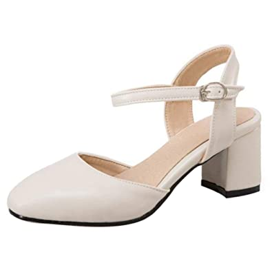 bf6113e3f56 Unm Women Elegant Mid Heel Ankle Strap Buckle Sandals Closed Toe Office  Shoes Beige