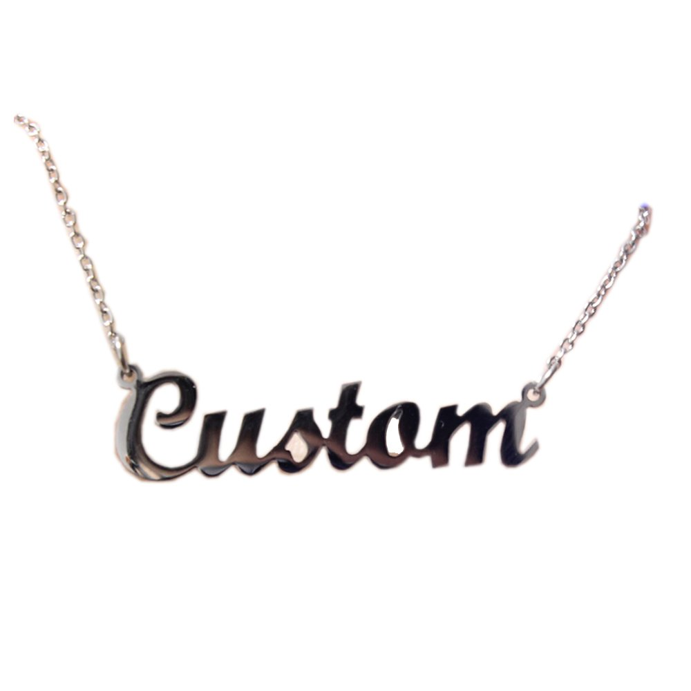 Romantic Gift Personalized Custom With Any Name Choker Necklace Stainless Steel with 18K Gold Plated Handwriting Signature Customized Nameplate Necklace (Silver Color)
