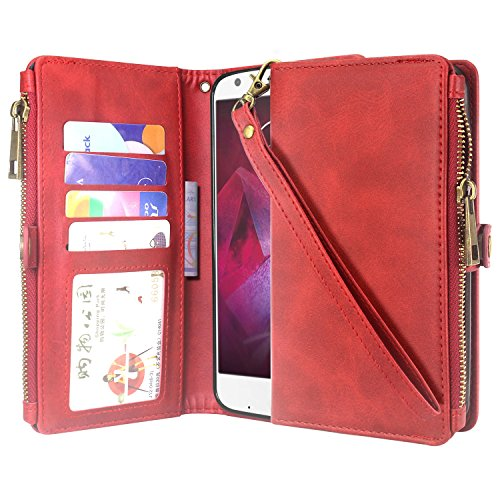 Moto Z2 Force Case, Linkertech Premium Leather Flip Zipper Wallet Case Cover with Stand Feature & Card Holder & Wrist Strap for Motorola Moto Z2 Force (2017) (Red)