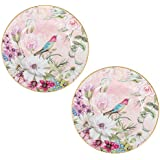 Daisy Floral Bird Vintage 8 Inch Porcelain Plates Decorative Gift Boxed Set of 2