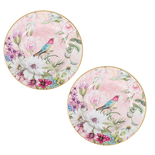 Floral Accent Plate - Delton Daisy Floral Bird Vintage 8 Inch Porcelain Plates Decorative Gift Boxed Set of 2 Multicolored