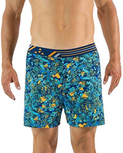 (Balanced Tech Men's Active Performance Photoprint Boxers Shorts - Lava Rock Lt. Blue/Orange - Small)