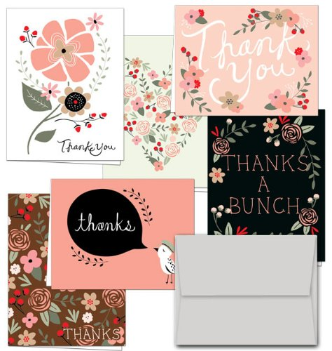 Thank You Potpourri   36 Thank You Cards   6 Designs   Blank Cards   Gray Envelopes Included