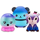R ? HORSE Jumbo Cute Galaxy Panda, Galaxy Deer, Galaxy Octopus Set Kawaii Cream Scented Squishies Slow Rising Decompression Squeeze Toys for Kids or Stress Relief Toy (3 Pack)