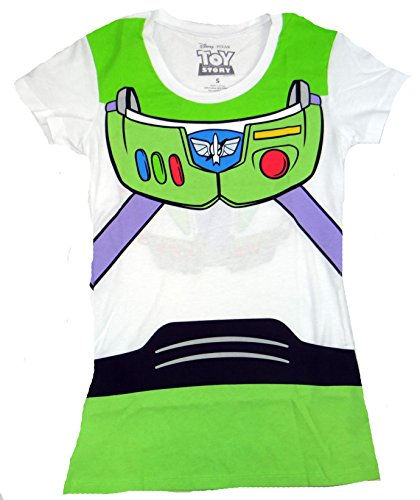 Toy Story Buzz Lightyear Costume Juniors T-shirt (Large,White) (Disney Buzz Lightyear Costume)