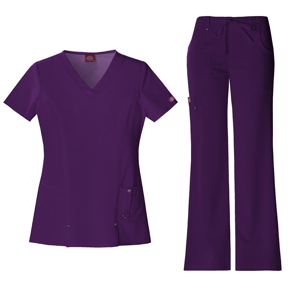 Dickies Xtreme Stretch Women's V-Neck Scrub Top 82851 & The Extreme Stretch Drawstring Scrub Pants 82011 Medical Scrub Set (Eggplant - XX-Large/XXXL Petite)