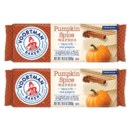 Voortman Bakery (2) Packs Pumpkin Spice Wafers - Limited Edition Cookies Baked with Real Pumpkin - Halloween/Fall Net Wt. 10.6 oz each