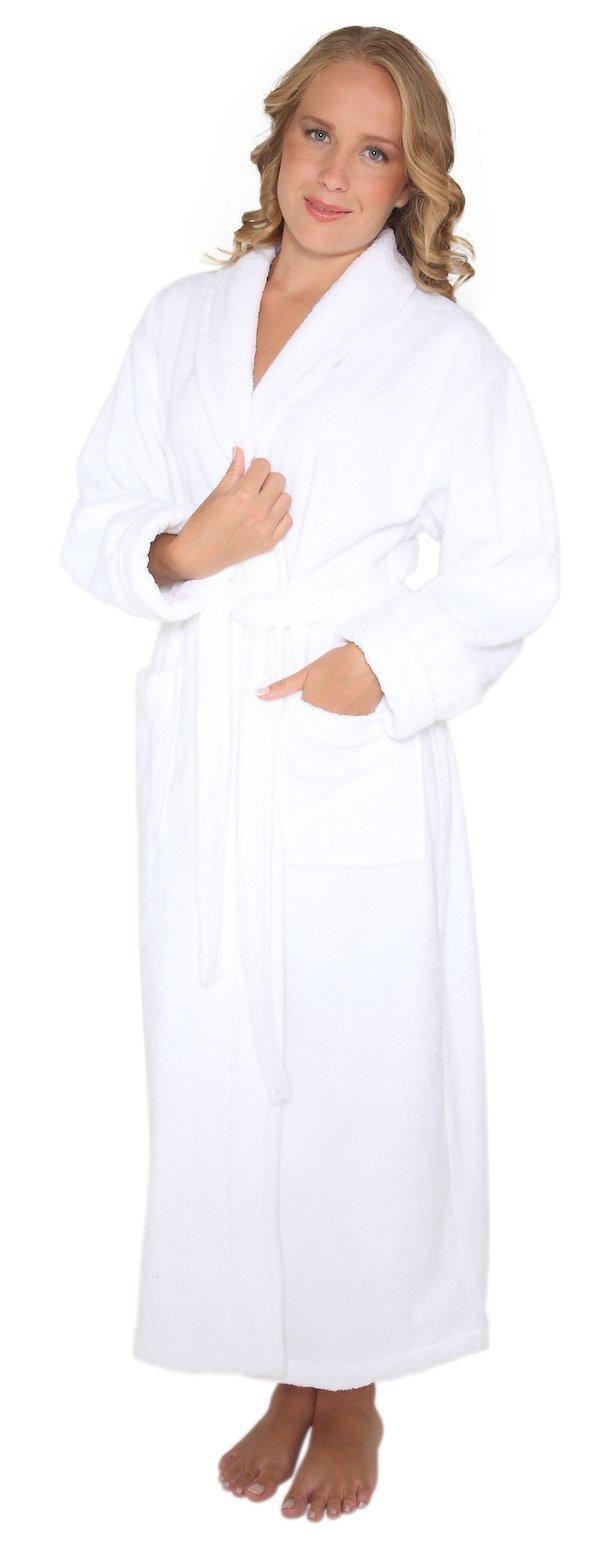 Arus Women's Optimal Style Full Length Thick Shawl Collar Turkish Bathrobe White S/M