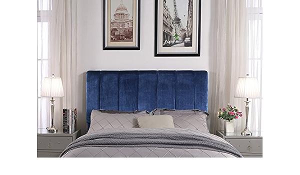 Twin Iconic Home Lucian Headboard Velvet Upholstered Vertical Striped Modern Transitional Navy