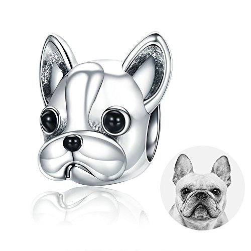 Pandora Jewellery - Forever Queen Dog Charm, 925 Sterling Silver Cute Loyal Partners French BULLDOG Doggy Animal Pet Bead Charms fit Pandora Charms for Pandora Bracelets Jewelry, Animal Lovers BJ09001