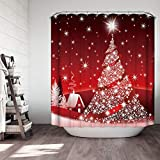 """Tree Shower Curtain Ezlif Merry Christmas Tree Shower Curtain Bathroom Accessories, Red Backdrop Classic White House Bright Stars Religious Xmas Decor, 70"""" x 70"""" Polyester Fabric Bathroom Shower Curtains"""