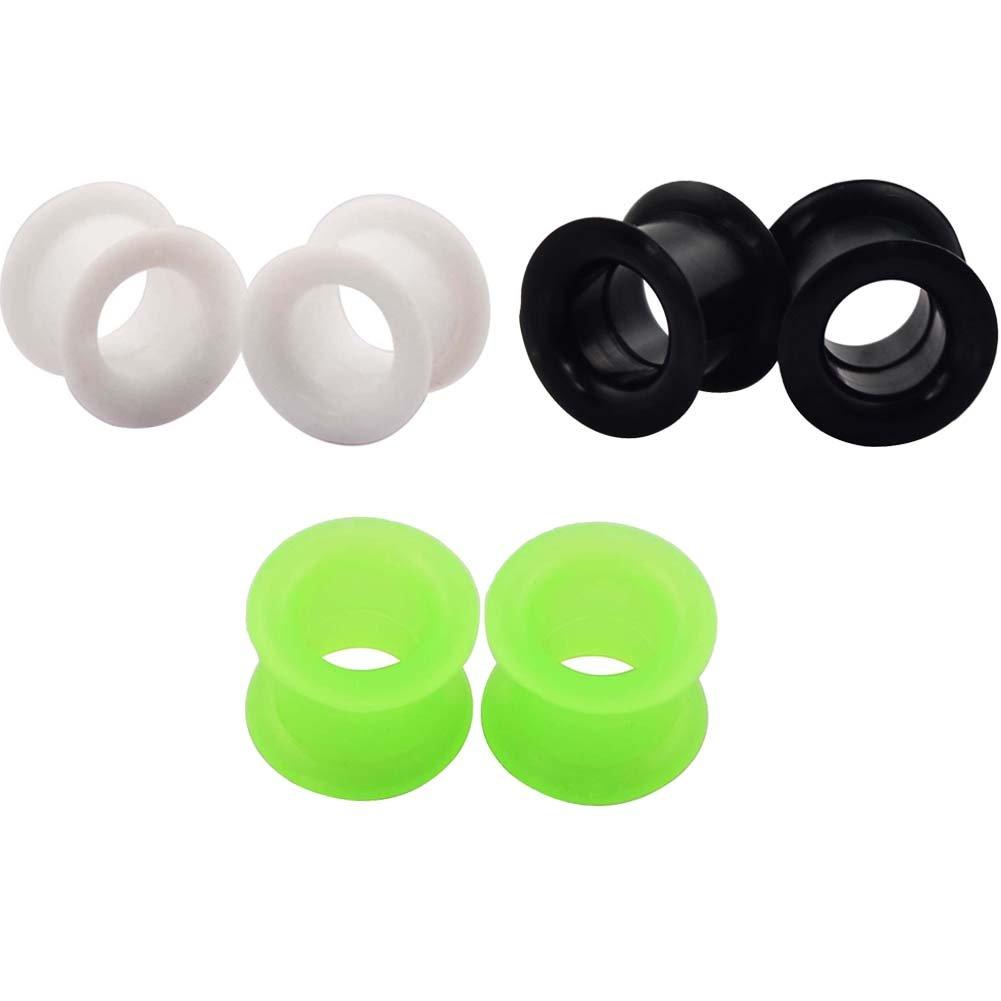 Dilatador de oreja de silicona en 3 colores de Longbeauty (de 3 a 25 mm), Schwarz&Weiss&Gruen, 8 mm: Amazon.es: Deportes y aire libre