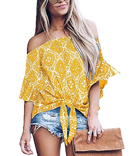 Womens Sexy Off The Shoulder Tops Long Sleeve Boho Floral Casual Blouse Shirt Yellow Flower - Off Sexy Shoulder Top