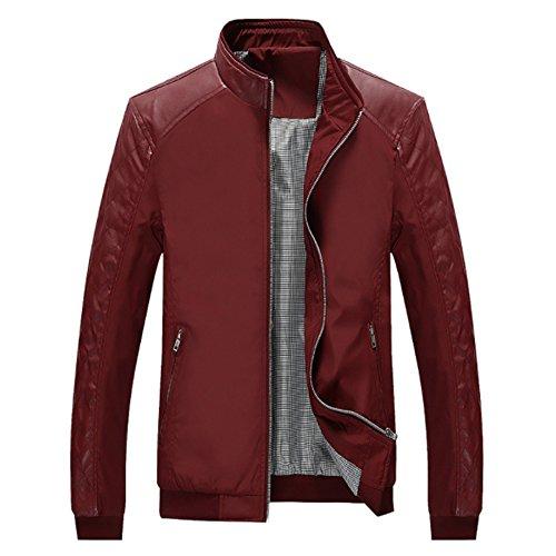 MAGE MALE Men Casual Lightweight Slim Fit Bomber Jacket Leather Sleeve Windbreaker Zip up (Light Flight Leather)