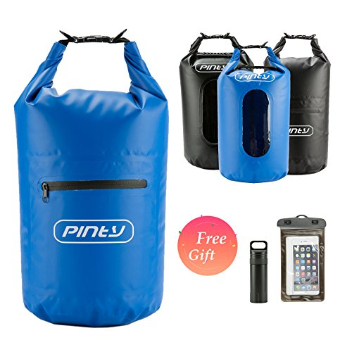 Pinty 20L Waterproof Dry Bag for Water Sports, 20L Dry Sack with Pockets for Kayaking, Floating, Beach, Rafting, Boating, Swimming, Camping, Fishing, Watertight Backpack with Waterproof Cellphone Bag