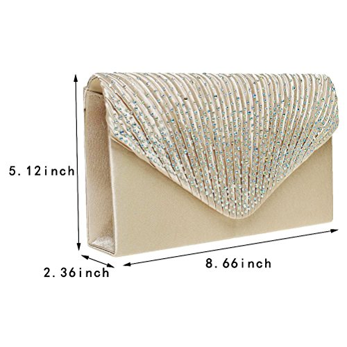Fashion Road Women Satin Clutch, Rhinestone Evening Clutch, Envelope Clutch Purse, Pleated Flap Handbag for Wedding, Party and Prom Apricot by FASHIONROAD (Image #6)